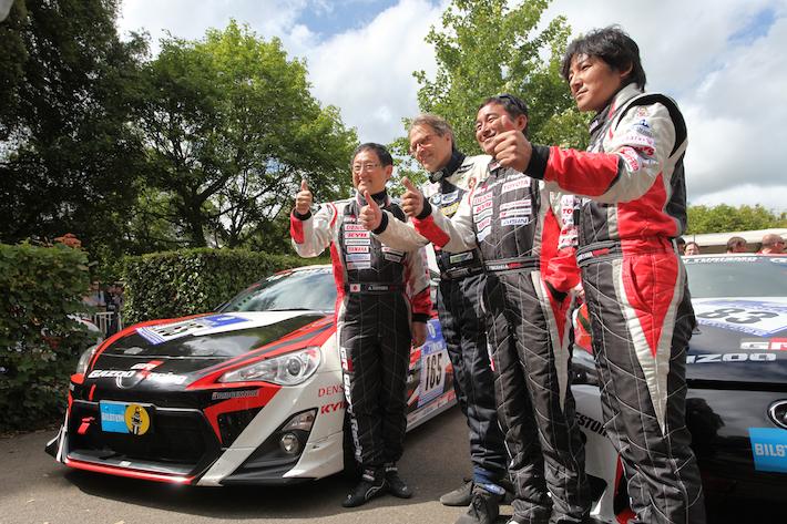 Akio Toyoda with Gazoo Racing Team and Lexus LFA