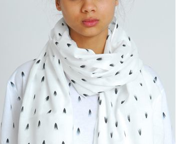 Eley Kishimoto unisex scarf tufts skinny white