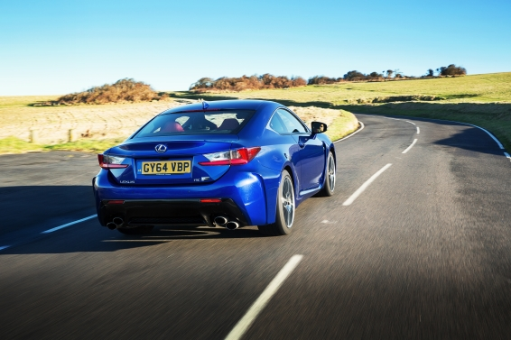 Lexus RC F driving Azure blue