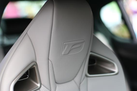 Lexus F badge in GS F seat